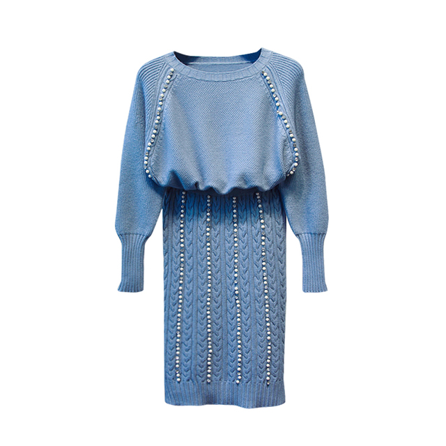 5f3e300270a Amolapha Women Handmade Beading Knitting Jumper Tops+ Beading Skirts Two  Pieces Clothing Sets Knitted Pencil Skirts Suits