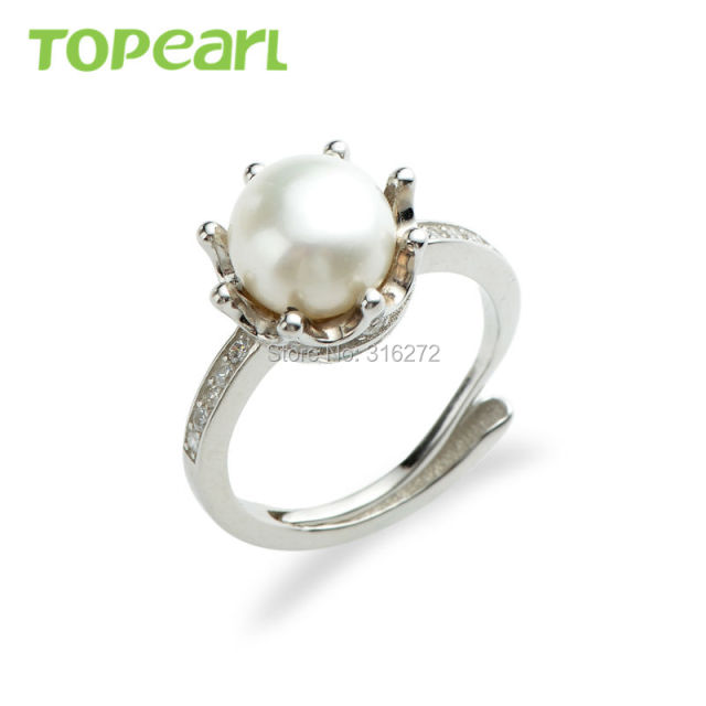 SFR115 Topearl Jewelry Cubic Zirconia Freshwater White Pearl Crown Ring Sterling 925 Silver Wedding Ring