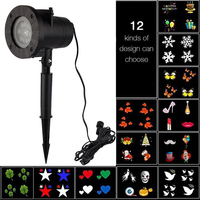 6W 12 Types Christmas Laser Snowflake Projector Outdoor LED Waterproof Disco Lights Home Garden Star Light