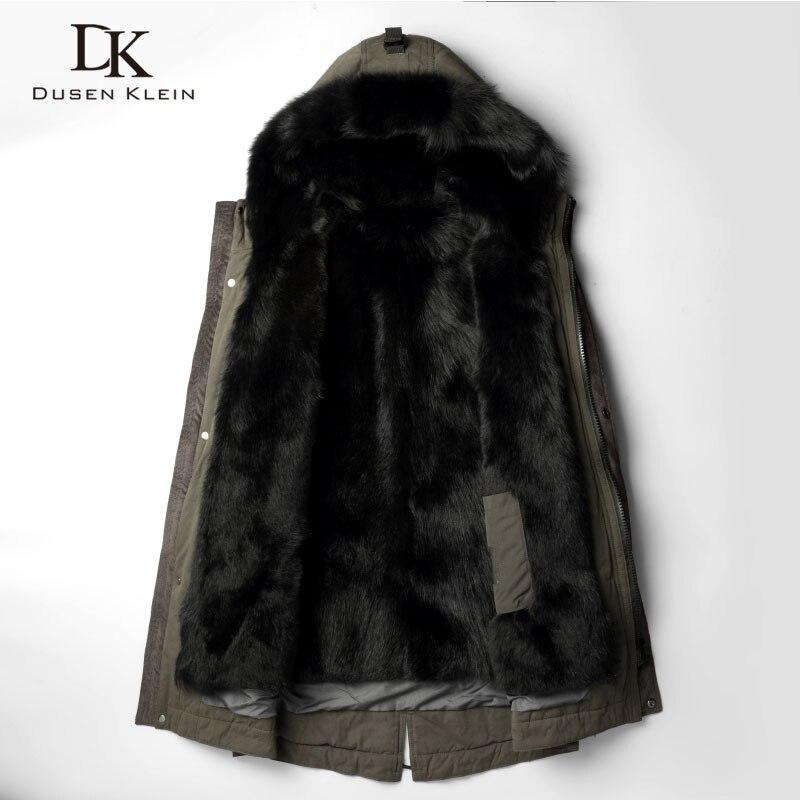 DusenKlein hombres caliente chaquetas de piel 2018 nuevo invierno de lujo largo Lobo forro de piel marca abrigo grueso más el tamaño 81E1125