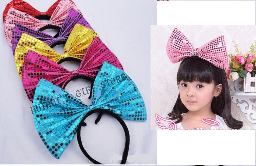 Free shipping Large bow sequinned headbandParty decoration hairband Dotted Sequins Bow Headband headwear