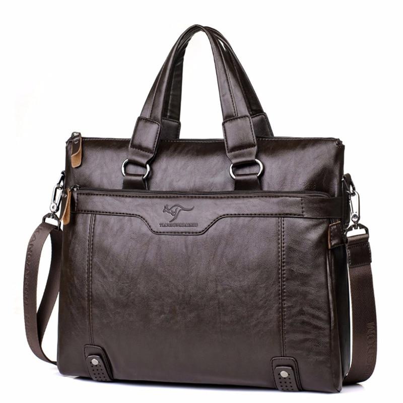 купить Brand Men Business Leather Briefcase Shoulder Messenger Bag for 14