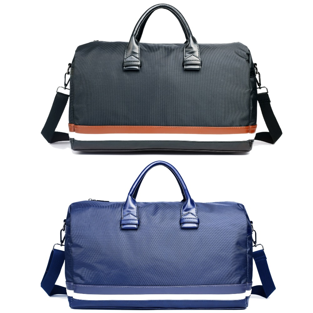 Aliexpress.com   Buy New fashion women men striped overnight duffel bag  travel duffle shoulder bags made from nylon and faux leather from Reliable  leather ... 31f564c35a