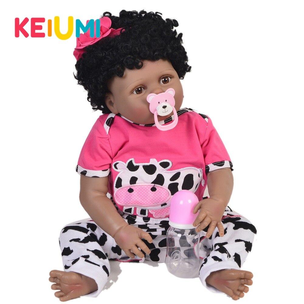 23 ''czarny Reborn Doll Full Body silikonowe winylu Boneca Reborn Baby księżniczka kreskówki zakrzywione włosy zabawki dla dzieci prezent bożonarodzeniowy dla dziewczyny w Lalki od Zabawki i hobby na  Grupa 1