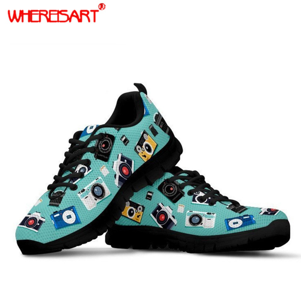 WHEREISART Spring Autumn Flats Women Photography Printing Mesh Shoes for Beach Ladies Stylish Sneakers Female Lace