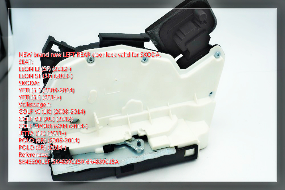 rear left Door Lock Actuator FOR Volkswagen <font><b>GOLF</b></font> 6 JETTA 5C POLO SKODA YETI SKODA RAPID 5K4839015F 5K4 839 015 F <font><b>R</b></font> M image