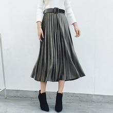 Qiukichonson Long Skirt Pleuche Vintage Skirts Womens 2018 Autumn Winter Solid Korean Pleated Skirt Sashes Zip High Waist Skirt