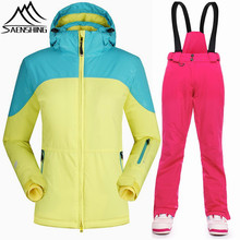 SAENSHING super warm winter skianzug frauen winddicht wasserdicht ski jacket women outdoor ski hose + jacke snowboard anzüge