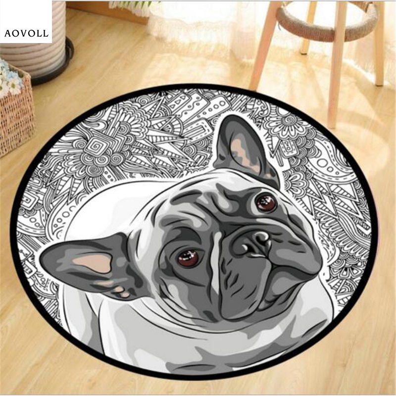 AOVOLL Creative Special Dog Round Carpets For Living Room Bedroom Kid Room Rug Soft Decorate Chair Table Floor Door Mat Area Rug