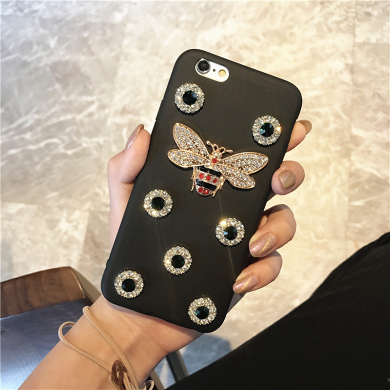 Retro 3D Diamond Pearl Bee Snake Soft Iphone 5 5S 6 6S 7 8 Plus 10 X Cover For Samsung Galaxy S6 S7 Edge S8 Note