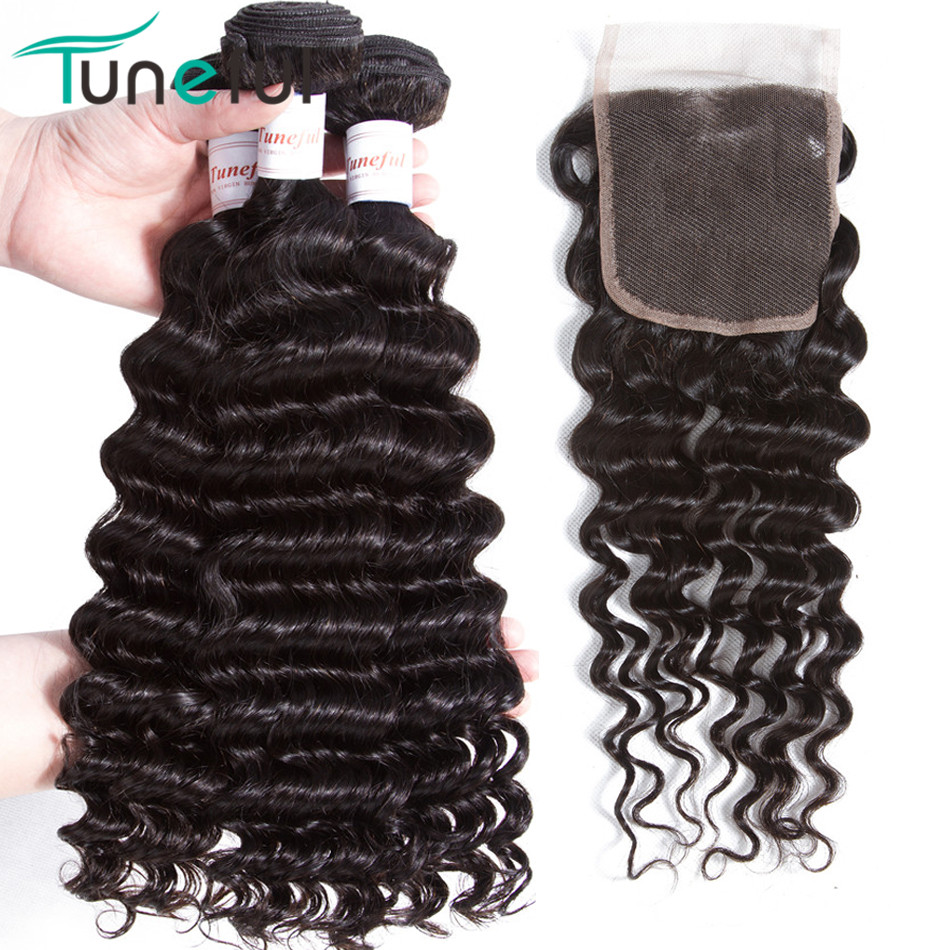 Tuneful Hair Deep Wave Brazilian Human Hair Bundles With Closure 100% - Menneskehår (sort)