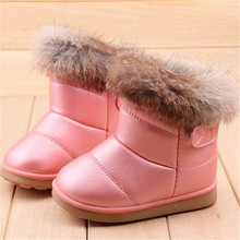 2016 EU21-30 Winter Warm Wool Cloth With Soft Nap Of Rabbit Hair Fur Rubber Soles Children Snow Boots Kids Shoes For Girls Boots