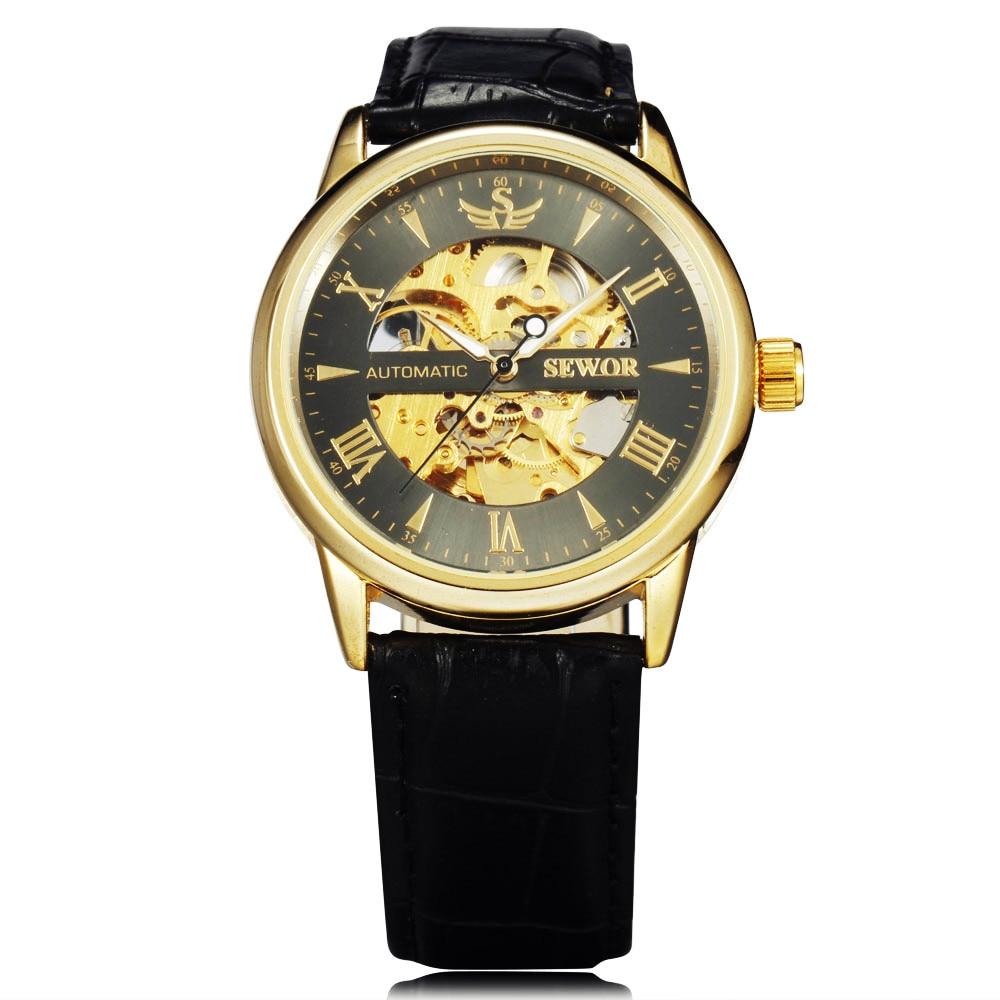 SEWOR Skeleton Mechanical Watch Былғары Relogio Masculinos - Ерлердің сағаттары - фото 3