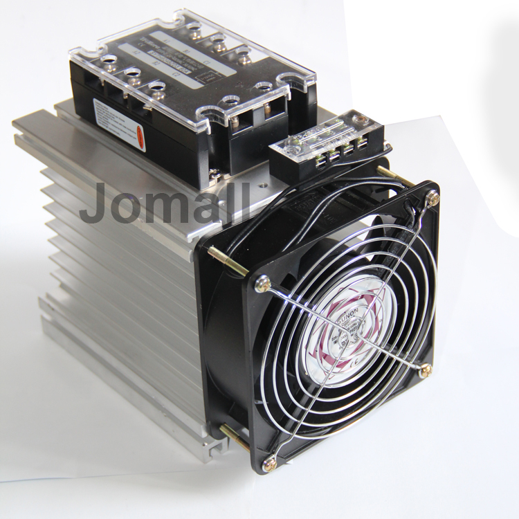 Three Phase Solid State Relay SSR Aluminum Heat Sink Dissipation Radiator Y shape 150*125*135mm Aluminum Heat Sink + fan normally open single phase solid state relay ssr mgr 1 d48120 120a control dc ac 24 480v