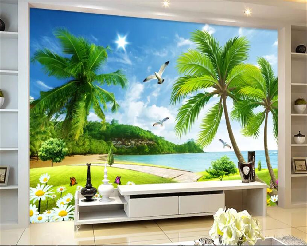 beibehang wallpaper for kids room Custom wallpaper seaside beach green behang tree landscape background wall papers home decor