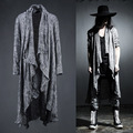Mens Long Sleeve Linen Fold Retro Shawl Cardigan Trench,Males Long Pull Style Punk Rock Fashion Sweaters Coat Men Outerwear,Q64
