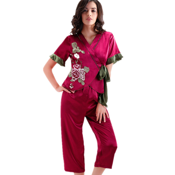 Short Satin Pajamas for Women Ladies Embroidered Silk Pyjamas Chinese Brand Satin Pajamas Sets ShortRobe Lacing Top+ Capri Pants pajamas