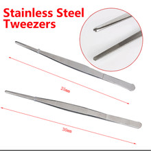 30cm Barbecue Stainless Steel Long Food Tongs Tweezers 25cm Straight Home Medical Tweezer Garden Kitchen BBQ Tool(China)
