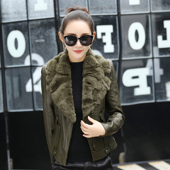 New Winter Women Short Plus Velvet PU Faux Leather Zipper Jackets With Raccoon Fur Collar Female Black Army Green Coats Warm OL