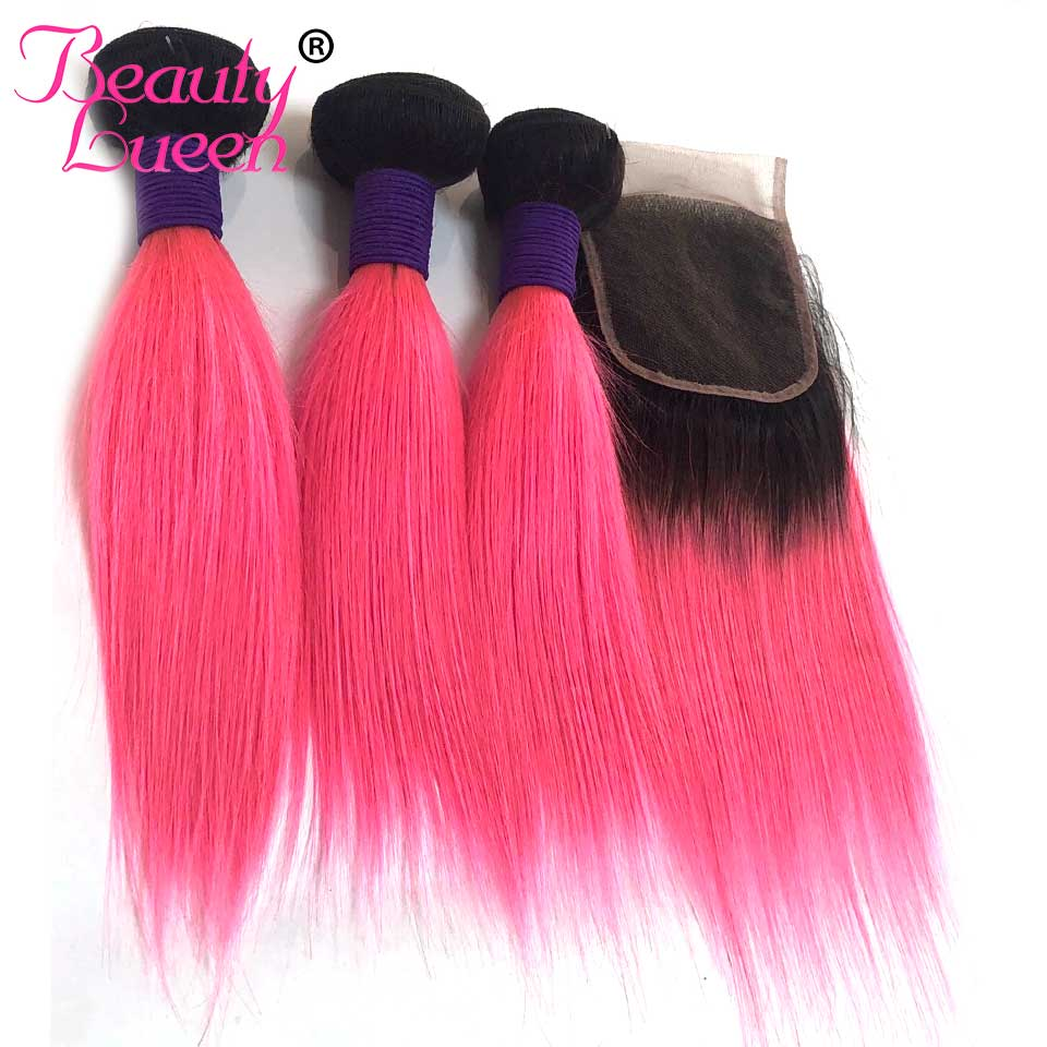 Brazilian Straight Hair 3 Bundles With Closure 1B Pink Two Tone Ombre Color Human Hair Weave