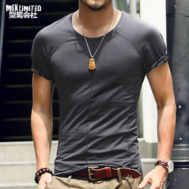 Men's Short Sleeve T-Shirt Fitness Muscle Brand Tops Tees New Summer Slim Men T-Shirt Casual bottoming shirt T569-2
