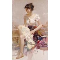 Canvas Wall Pictures Pop Art White Lace Women Oil Painting Pino Daeni Framed Landscape Modern Home