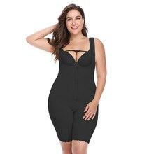 CR Plus Size 6XL Hot Latex Women's Body Shaper Post Liposuction Girdle Clip Zip Bodysuit Vest Waist Shaper Reductoras Shapewear