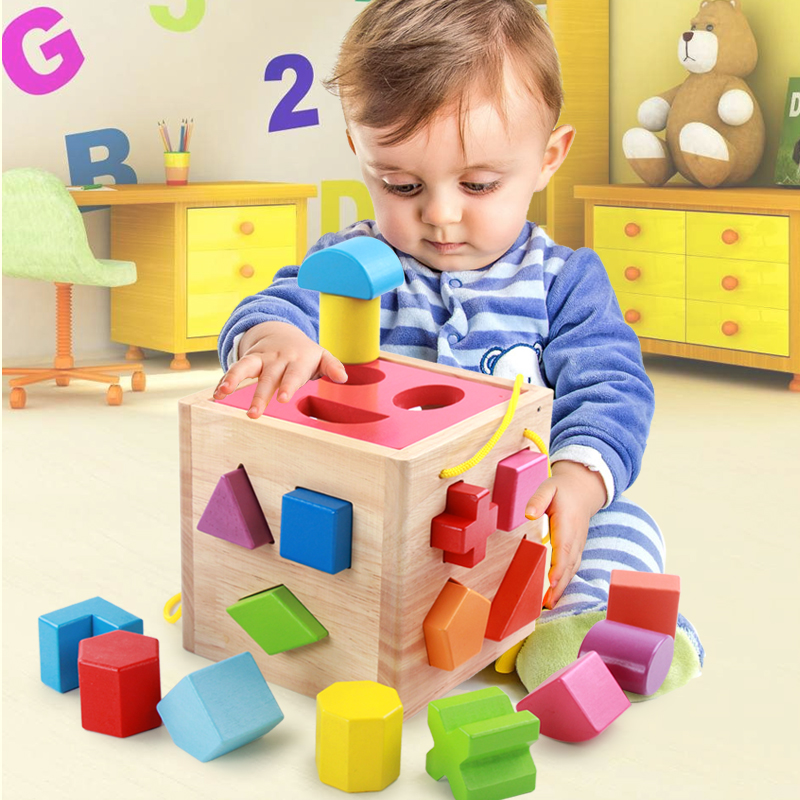 ФОТО Intelligence Box for Shape Sorter Cognitive and Matching Wooden Building Blocks Baby Kids Children Eductional Wood Toys
