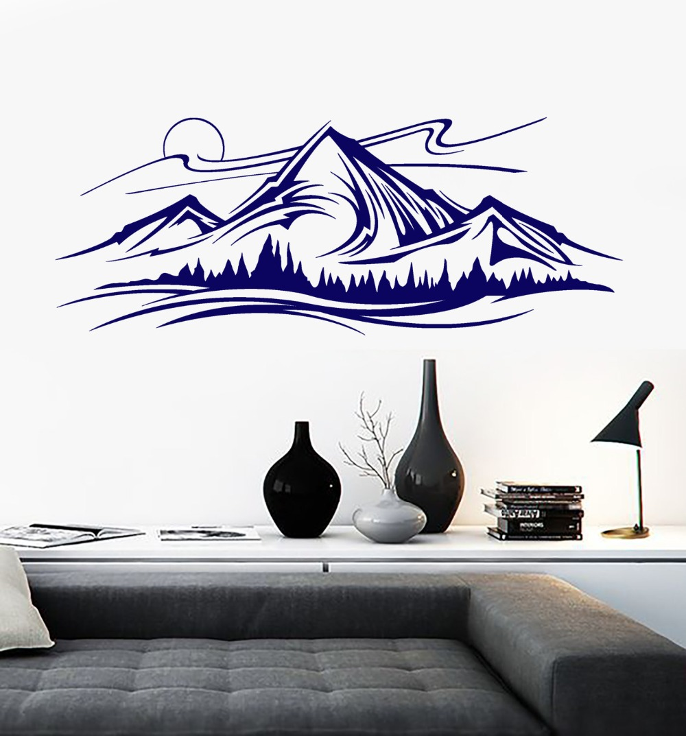 Mountains and Trees Pattern Wall Decal Night Vinyl Nature