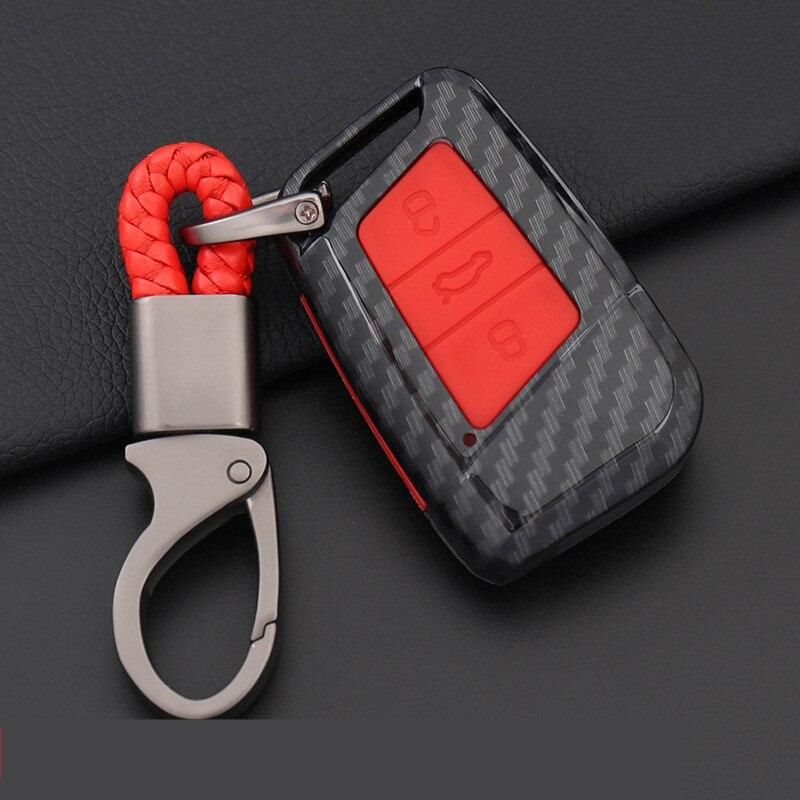 Proteção de Fibra De carbono Tampa do Caso Remoto Chave Para Skoda Superb Gte B8 A7 Para Volkwagen Passat VW Golf Car Styling accessorize