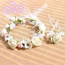 High quality bride headdress bride wrist flowers for wedding beautiful beach wedding party head flowers wedding decorations