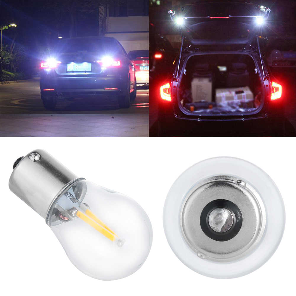1 pc 1156 BA15S P21W COB LED 1157 BAY15D זכוכית LED נימה הנורה רכב אוטומטי בלם זנב אור DRL הפוך איתות מנורה
