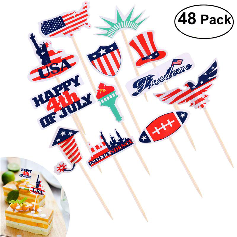 BESTOMZ 48pcs Independence Day Safe Patriotic Cupcake Topper for Cake Decoration