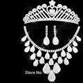 2016 ожерелье свадьба африканские бусины недавно горный хрусталь свадебных устанавливает обручальное тиара Hairbands кисточкой серьги ожерелья