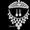 2016 de casamento africano contas de strass conjuntos de jóias de casamento Tiara Hairbands borla brinco