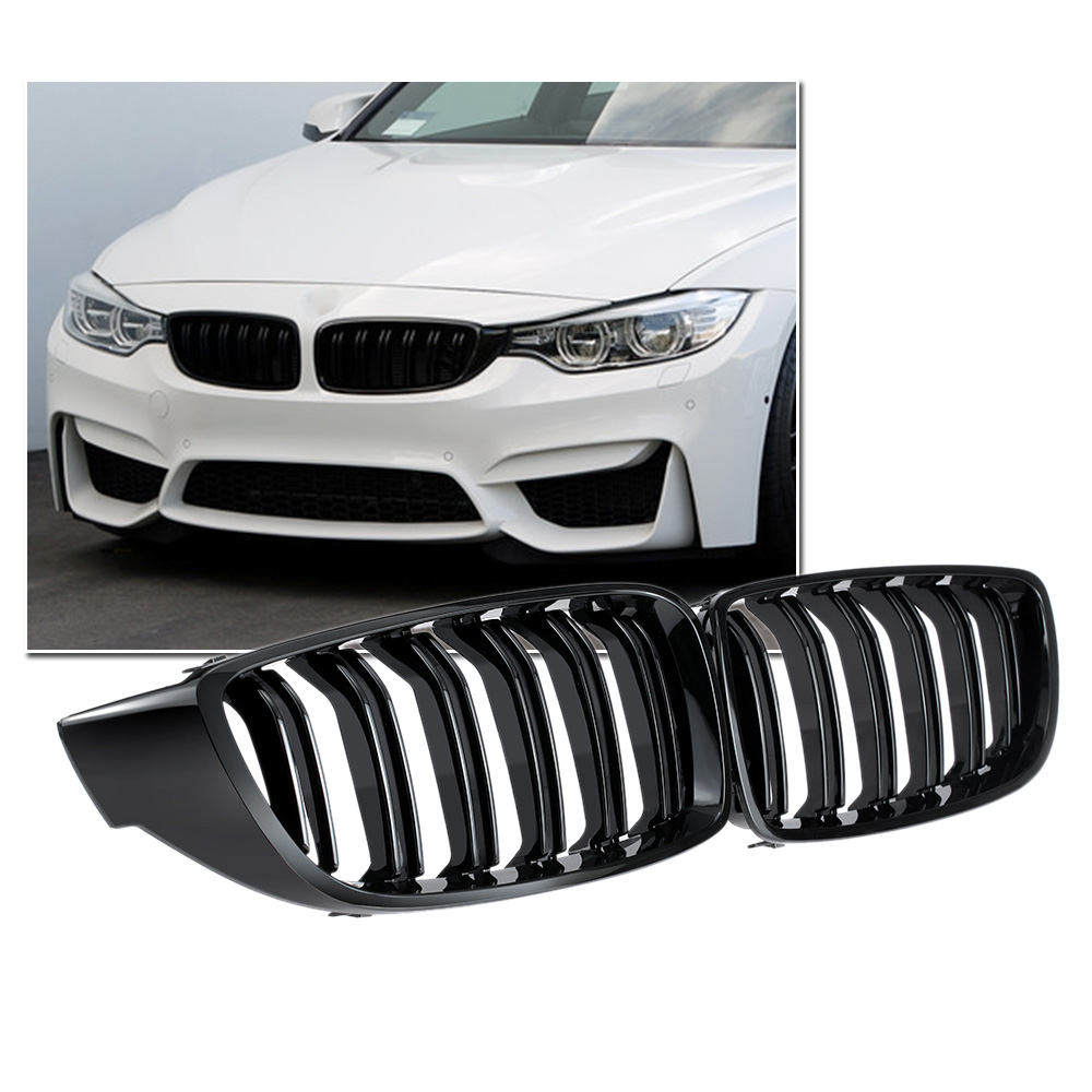 1 Pair Gloss Black Front Kidney Grille Double Slat M4 Sport Style Grill for BMW F32