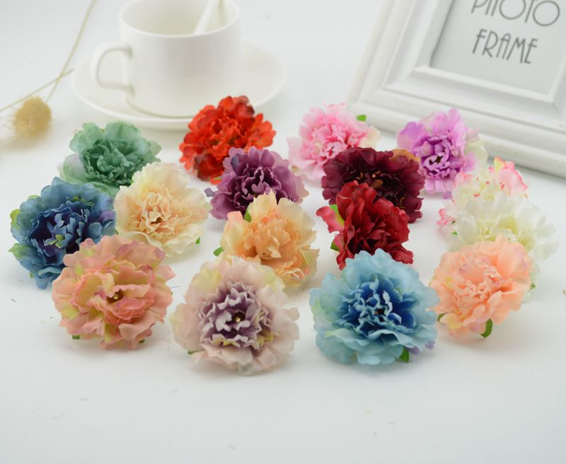 Bouquet Sposa Garofani.20 Pz Garofani Artificiali Teste Di Fiore Di Seta Bouquet Da Sposa