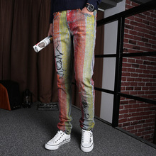 Men's personality Lee Jeans slim free consignment packet painted a sells men's clothing wholesale
