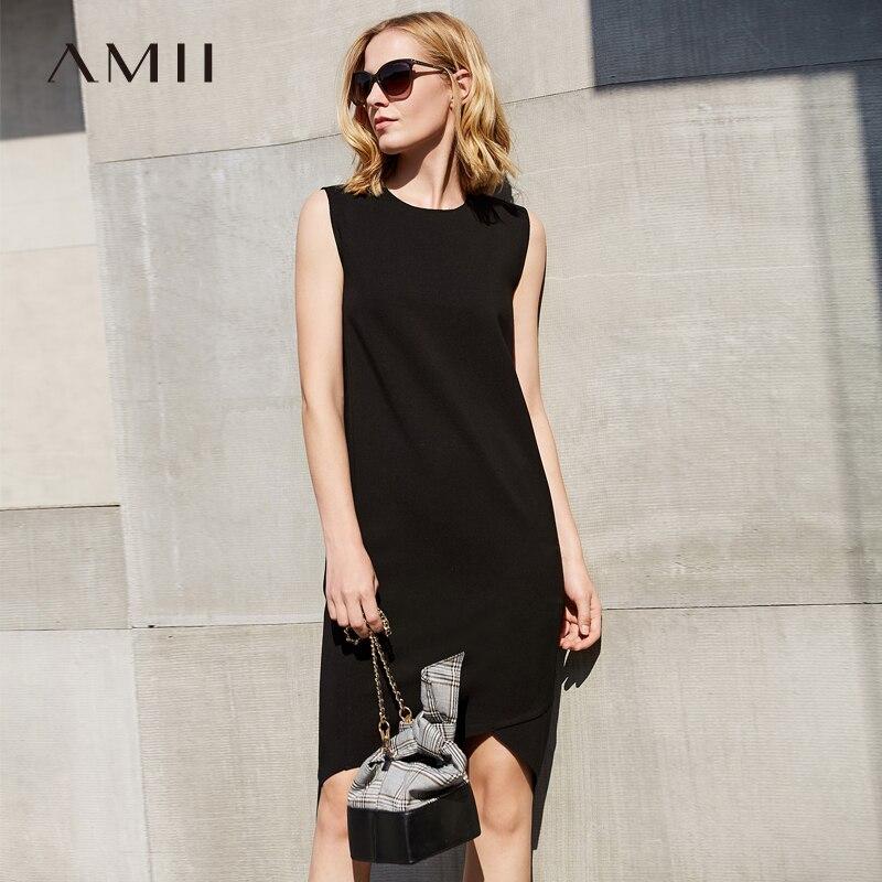 Amii Women Minimalist Dress 2018 Summer Office Lady Plus Size Long Back Short Front Elegant Sleeveless O Neck Female Dresses