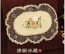 New Hand Crochet Ribbon Embroidery Cotton Placemat oval Tablecloth decorative mat Sofa Cover cloth A B 2 styles