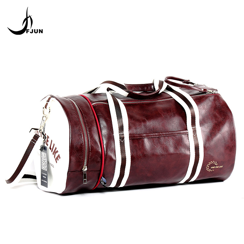 FJUN PU Outdoor Sports Gym Bag Multifunction Training Fitness Shoulder Crossbody Bag Travel Yoga Handbag With Shoes Pocket GC32
