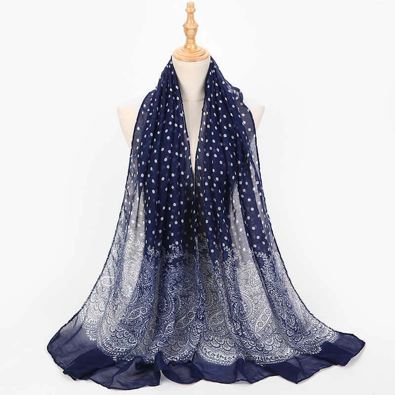 Summer Shawl Beach Scarf Chiffon Vintage National Wind Wild Design Female Scarves Soft Thin Breathable Dot Print Women Muffler