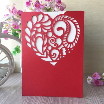 30pcs Birthday Postcard Greeting Gift Cards Blank Paper Laser Cut Pearl Shiny paper Heart design Wedding Invitation cards