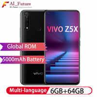 """グローバル ROM オリジナル Vivo Z5x 4 ギガバイト 64 ギガバイト 6.53 """"フル画面スマートフォン Snapdragon710 オクタコア Android9 電話 16MP + 8MP + 2MP カメラ"""