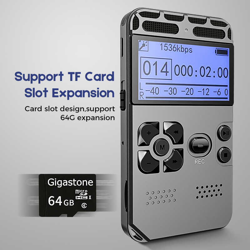Soutien 64g L'expansion Professionnel Caché Enregistreur Vocal Dictaphone Greffier MP3 HIFI Stéréo 1536KPS WAV Enregistrement Dispositif Gris