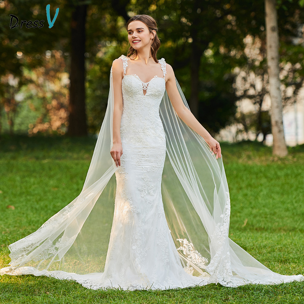 Dressv ivory elegant straps wedding dress mermaid floor length sleeveless bridal outdoor&church trumpet wedding dresses