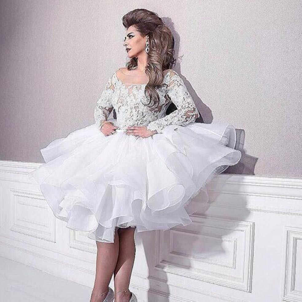 Long Sleeve Lace party prom gown Ruffed Puffy Knee Length Short White Bridal  Gowns vestido de 5ea86e7e214b
