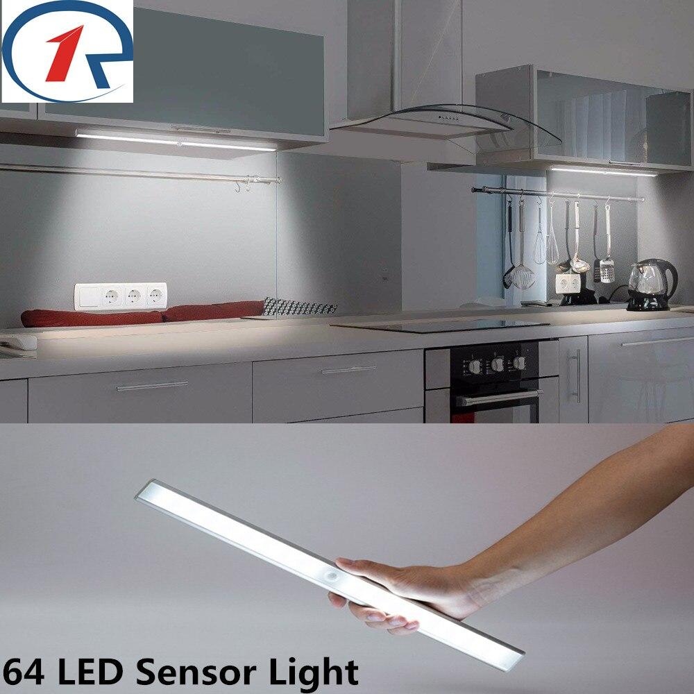 ZjRight 64 Led PIR auto sensor light Rechargeable battery light Induction light cabinet bedroom wardrobe indoor Stair wall light