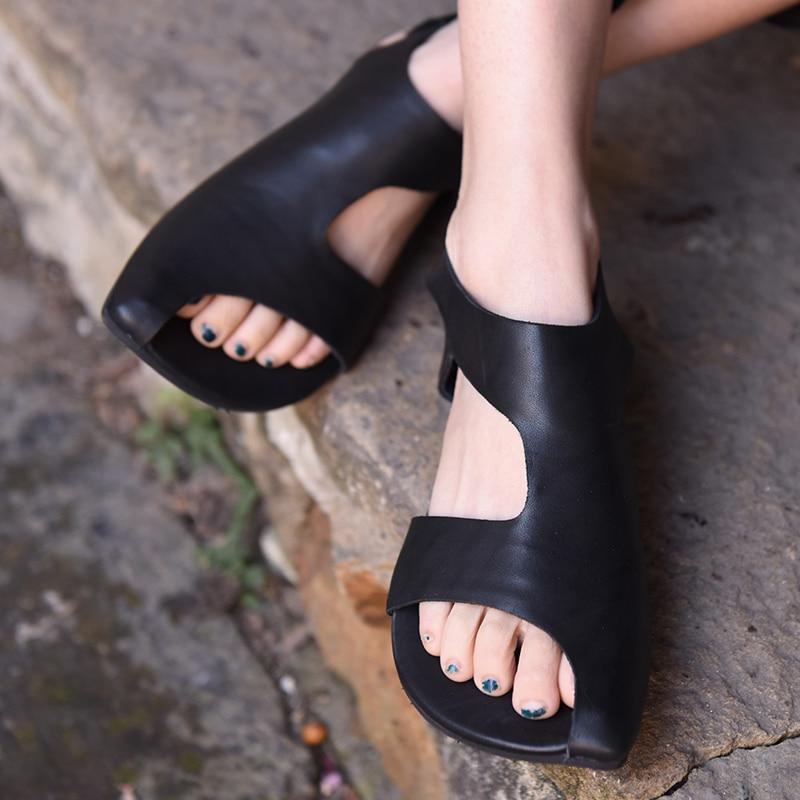 Women Sandals Black Leather Summer Shoes Low Heels Lazy Shoes Ladies Sandals Slip On Handmade Genuine