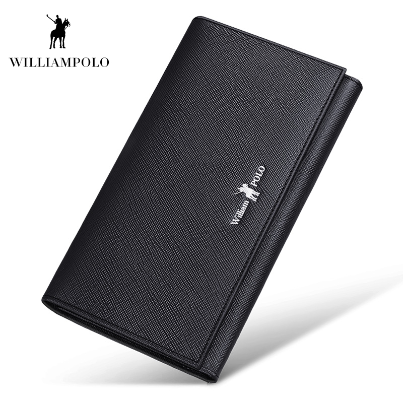 WILLIAMPOLO 100 Real Leather High Quality Luxury Design Credit Card Holder Wallet Phone Case Hasp Wallet